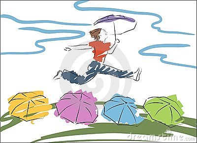 woman jumps with the umbrella