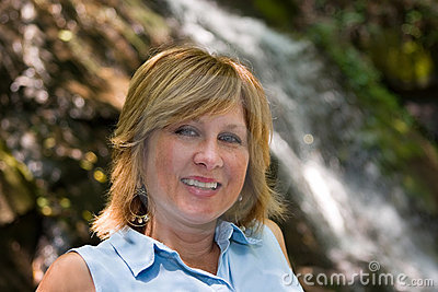 Woman by Juney Whank Falls, Great Smokey Mountains National Park