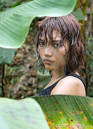 Woman in the jungle