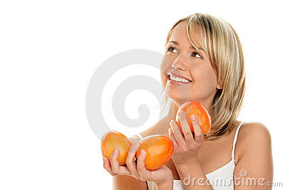Woman with kaki friuts