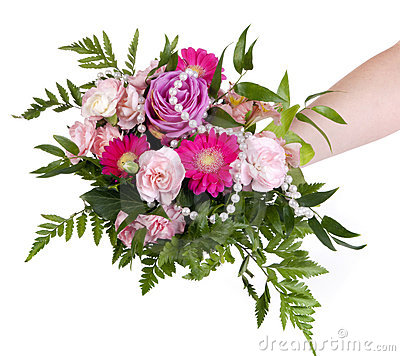 Woman keep bouquet