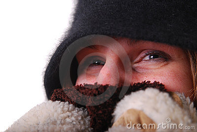 Woman keeping warm