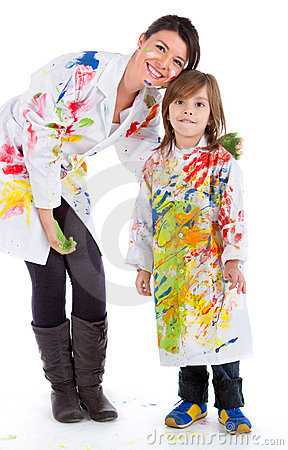 Woman and kid painting
