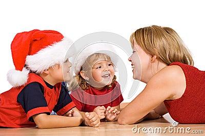 Woman and kids having fun