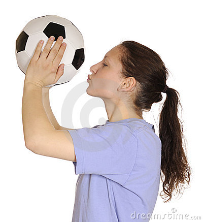 Woman kissing a soccer ball