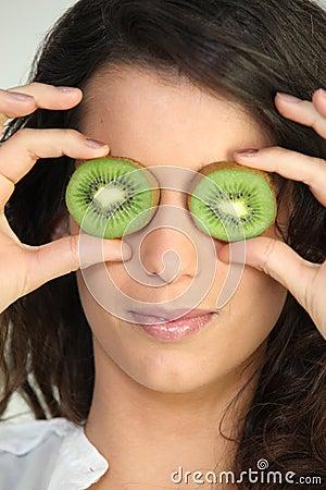 Woman with kiwi eyes