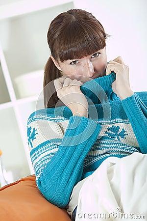 Woman in knit jumper