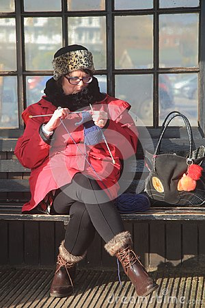 Free Woman Knitting On A Bench Stock Photos - 109855023