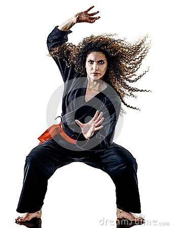 Free Woman Kung Fu Pencak Silat Isolated Royalty Free Stock Images - 121208349