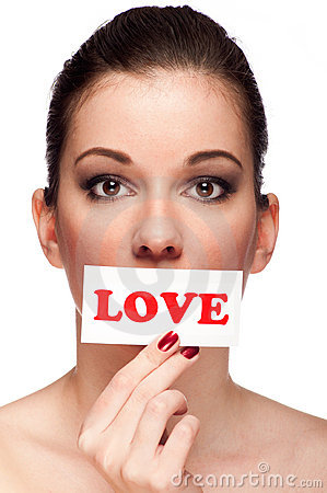 Woman with label love