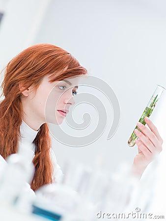 Woman laboratory plant analysis