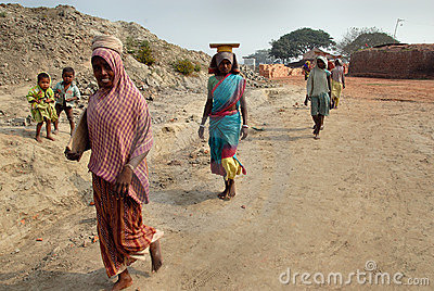 Woman Labour In Indian Brick-field Editorial Image