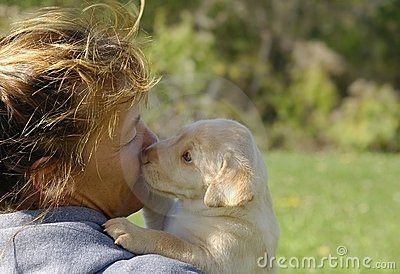 Woman with labrador puppy