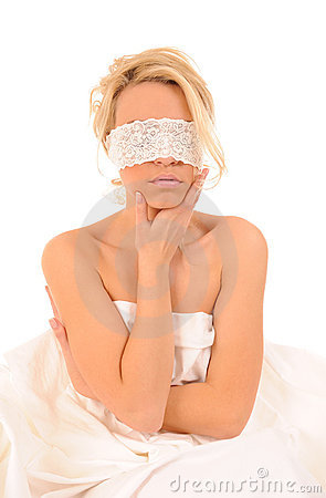 Woman with lace fastened on eyes