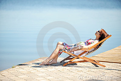Woman on lakeside