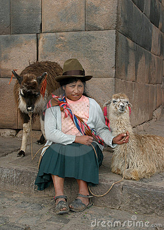 Woman with lamas Editorial Photography