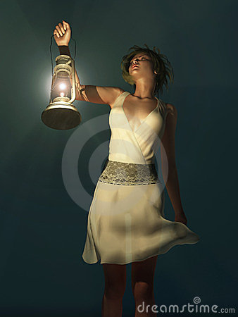 Woman with a lantern wandering in the dark