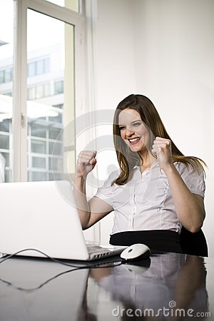 Successful woman using computer