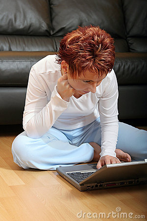 Woman on laptop 5 stock images image 1247474 for How to sit comfortably on the floor