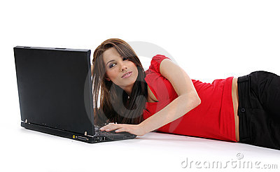 Woman With Laptop Stock Images - Image: 5488214