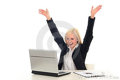 Woman With Laptop Cheering Royalty Free Stock Images - Image: 4132499