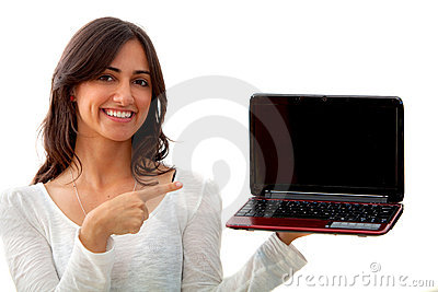 Woman with a laptop isolated