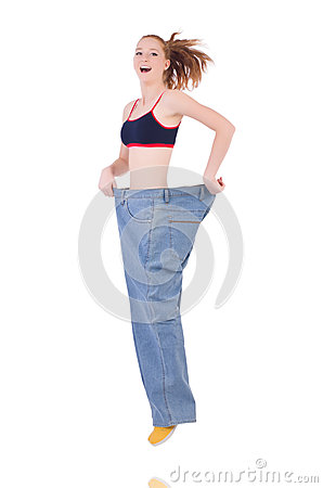 Woman with large jeans