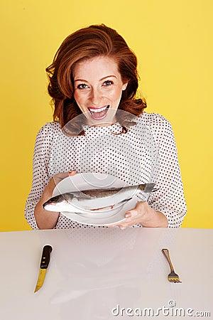 Woman Laughing At Fish