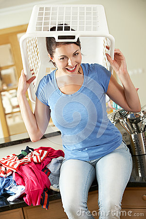 Woman With Laundry Basket On Head