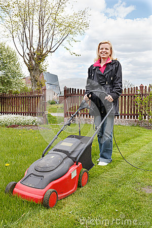 Woman With Lawn Mower Stock Photo Image 27557880