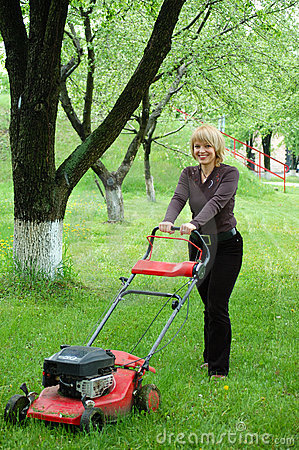 Woman with lawn-mower