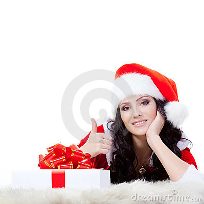 Free Woman Laying On The Floor With Giftbox Royalty Free Stock Photo - 22258235