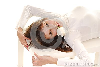 Woman laying on table