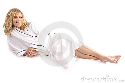 Woman laying in white robe