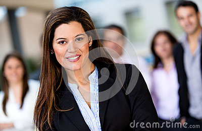 Woman leading business group