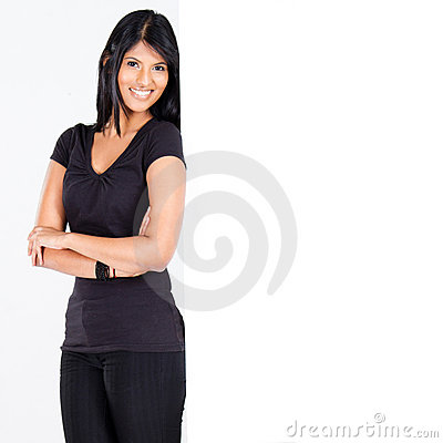 Woman lean on white board