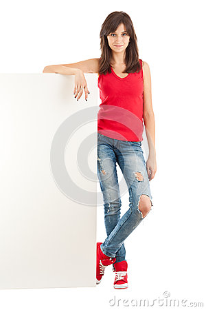 Woman leaning on blank poster