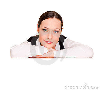 Woman leaning on copyspace