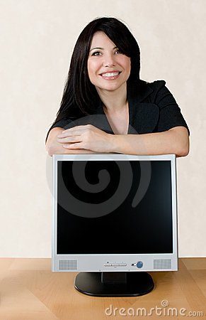 Woman leaning on lcd screen