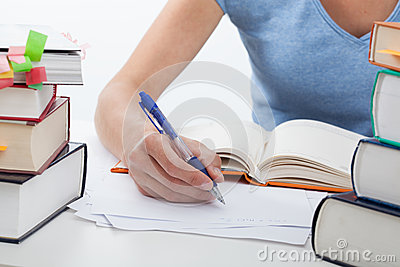Woman during learning