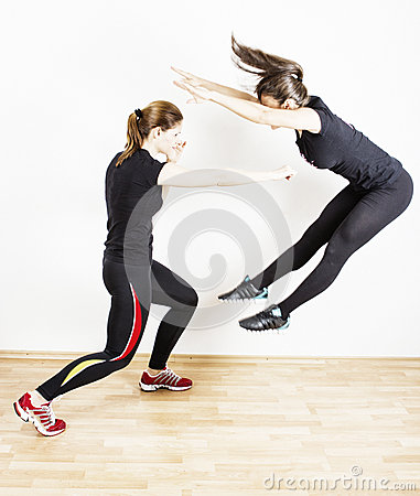 Woman learning self defense Stock Photo