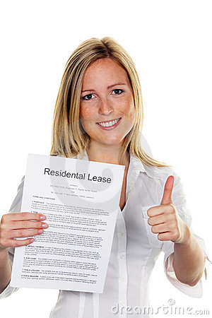 Woman with a lease in English