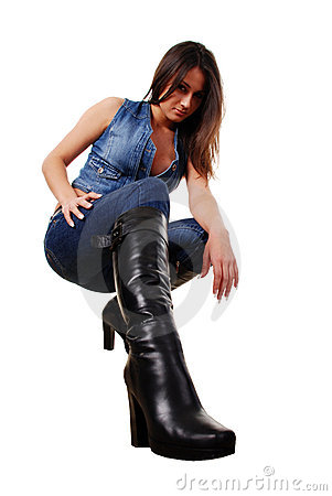Woman in leather boots