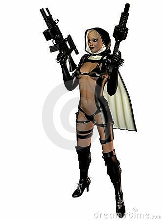 Woman in leather and guns