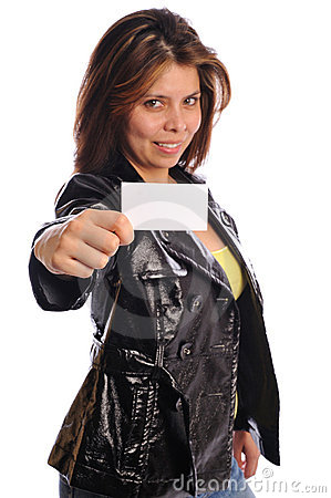 Woman in leather hold a business card