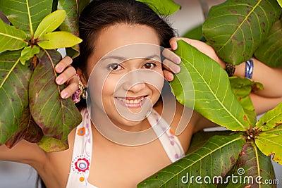 Woman in leaves