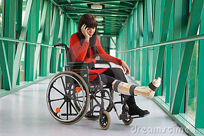 Woman with leg in plaster
