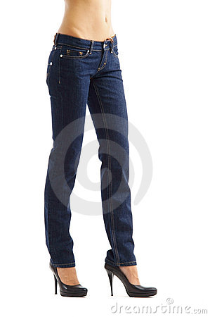 Woman legs in blue jeans