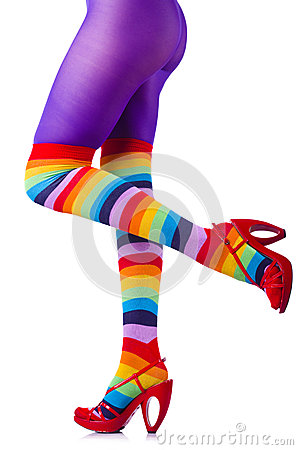 Woman legs in colourful stockings