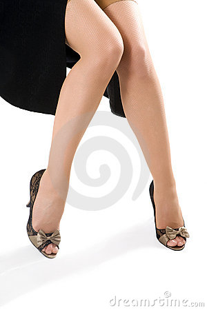 Free Woman Legs In Black Shoes Royalty Free Stock Image - 4850306